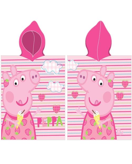 Poncho ręcznik z kapturkiem 50×115 - ŚWINKA PEPPA