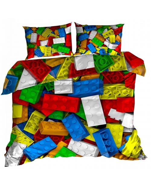 Pościel 3D 160x200cm bawełna satyna KLOCKI LEGO